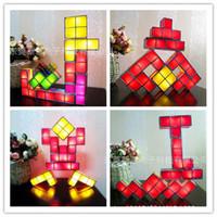 Discount cool blocks - Tetris Stackable LED Desk Lamp Novelty Retro Game Tower Blocks Cool Night Light Building Block DIY Toys 80xy W