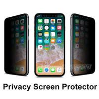 protectores de pantalla de privacidad para iphone al por mayor-Vidrio templado de privacidad para Iphone X / XS MAX XR 8 7 6S Plus Samsung Galaxy S7 / S6 / S5 Note 5 Protector de pantalla Anti-Spy