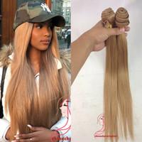 bakire ava saç örgüsü toptan satış-Bal Sarışın 27 # Brezilyalı Virgin İnsan Saç Dokuma Paketler Perulu Malezya Hint Avrasya Rus Vücut Dalga Saç Uzantıları Çift atkı