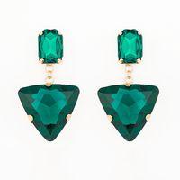 Wholesale glass flower chandeliers - Hot new selling fashion jewelry Long design tassel triangle glass rhinestone big drop earring for women #E018