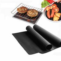 pique-nique achat en gros de-Anti-adhésif BBQ Grill Mat pique-nique en plein air Barbecue Outils de cuisson Réutilisable Téflon Feuilles de cuisson 40 * 33 cm tapis de barbecue