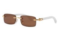 beste sonnenbrille für männer großhandel-Luxus Randlose Sonnenbrille Weiß Buffalo Horn Brille Männer Frauen Sonnenbrille Für Markendesigner Beste Qualität Holz Brille kommen mit box