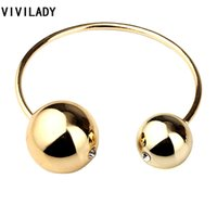 имитация цветного кристалла оптовых-Wholesale- VIVILADY Fashion Double Imitation Pearl Bangles Women Gold Color White Black Round Beads Bracelet Female Crystal Gift Cuff