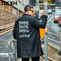 gabardina negra con capucha al por mayor-GXXH Nuevo Otoño Hoodies Trench Coat Hombres Carta Imprimir Windbreaker Negro Abrigo Chaqueta Larga de Gran Tamaño Masculino Abrigo 6XL7XL