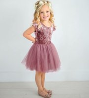 Wholesale velvet baby princess dress - Baby Gold velvet dress INS girls lace Tulle Princess dresses 2018 summer Kids Clothing Boutique Ball Gown C3979