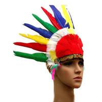 diadema india al por mayor-Cinta de cabeza de Halloween estilo de la pluma india Sheikh Sombrero Forma Prom Puntales Hairband desgaste color de la mezcla Para las Partes