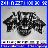 carenado zx 11 al por mayor-Cuerpo Para KAWASAKI NINJA ZZR1100 ZX 11R ZX-11R 1990 1991 1992 205HM.46 ZZR 1100 ZX11 R ZX-11 R ZZR-1100 ZX11R 90 91 92 Gris Carenado