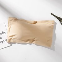 askısız iç çamaşırı beyaz toptan satış-Yeni Sütyen Seksi Straplez Sarılmış Göğüs Buz Ipek Nefes Iç Çamaşırı Toplanan Kaymaz Kısa Seksi Beyaz Bankası Anti-gidiyor