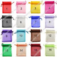 sacos de tamanho de jóias venda por atacado-16 cores tamanhos completos sacos de organza para favores de presente da jóia baggies bolsa de casamento pequenos sacos a granel por atacado fabricante preço barato