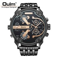 Wholesale Heavy Stainless Wrist - Oulm Brand Large Big Dial Watches Mens Unique Designer 2 Quartz Movement Watch Male Heavy Full Steel Leather Strap Wrist Watch