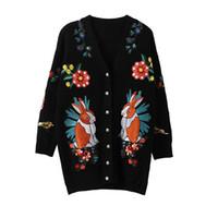 ingrosso fiori ricamati neri-Maglione lavorato a maglia lungo nero Cardigan Autunno Giacca 2018 New Casual Cardigan donne maglione fiori ricamati Tiger Winter Coats