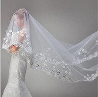 Wholesale Rhinestone Chapel Length Veils - Cheap Real Image Bridal Veils One Layer Tulle White Wedding Veils With Crystal Lace Voile Mariage Bridal Veil Free Shipping