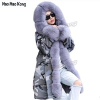 Wholesale grey fox fur coats - Hot 2017 Fashion Genuine Fur winter Parka 100% Real fur parka Long Coat Female Trend Fox Collar women
