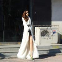 Wholesale trench coats woman skirt - X-Long Women Artificial Plush Fox Fur Coat Windbreaker faux fur Long Jacket Trench warm Parka Loog sleeve Faxu Coat