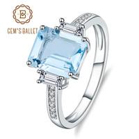 en iyi yüzük markaları toptan satış-Gem'in Bale Klasik Doğal Sky Blue Topaz Yüzük Kesim Katı 925 Gümüş Yüzük Set Kadınlar Için En Iyi Marka Güzel Takı S18101001
