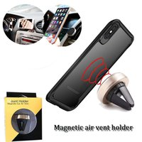 Wholesale Model Packs - universal mini air vent car holder magnetic cellphone stand mounts adjustable rotation mobile phone mount with retail pack with two model