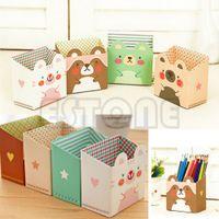 коробка для кошек оптовых-Free shipping Cute Cat Cartoon Paper Stationery Makeup Cosmetic Desk Organizer Storage Box DIY