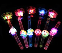 Wholesale lobster toys resale online - Multi Styles Luminous Cartoon Bracelet Kids Toy LED Light Wrist band Festival Dance Party Favor Gift Night Flashing Bangle