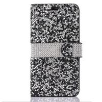 galáxia carteira de diamante venda por atacado-Para o iphone 8 galaxy on5 carteira diamante case capa para iphone 6 lg k7 stylo bling bling case de cristal pu slot para cartão de couro saco opp new hot