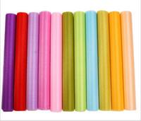 telón de fondo de la boda de tul al por mayor-12 colores moda cinta rollo organza hilo de tul silla cubiertas para bodas telón de fondo decoraciones cortinas suministros 50 m / roll