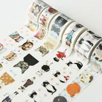 chats stationnaires achat en gros de-Dessin animé mignon chats bricolage matériel décoratif papier bande définie bande adhésif décoratif cadeaux vintage washi kawaii stationnaire 2016