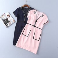 Wholesale Lantern Beads - 2018 Spring Summer Beads Empire Polyester Pink Blue V Neck Above Knee Short Sleeve Brand Same Style Dress LI