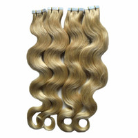 Wholesale adhesive tape hair extensions resale online - Blonde Tape In Human Hair Extensions BODY WAVE Machine Remy Hair On Adhesives Invisible Tape PU Skin Weft Remy Hair Extensions G