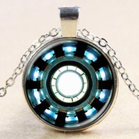 Wholesale Arc Link - whole saleIron Man Arc Reactor Pendant glass Necklace Art picture Gothic glass cabochon silver choker Necklace for women men Jewelry 2017