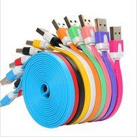 cable de teléfono usb fideos al por mayor-1M / 2M / 3M Flat Noodle Cargador Micro USB Cable de sincronización de datos Cable plano para Samsung s3 S4 S5 S7 I phone 5 6 plus 7 8