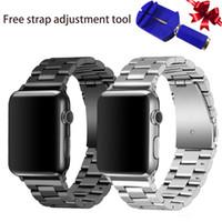 полоса для часов из янтаря оптовых-Для Apple Watch Band из нержавеющей стали с металлической заменой Classic для серии iWatch 4/3/2/1 Sport и Unisex Edition Silver and Black