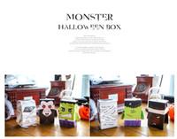 diy kabak kutusu toptan satış-Cadılar bayramı Çerezler DIY Bisküvi Kutusu Yaratıcı Komik Kabak Hayalet Gıda Dim Sum Karton Şeker Çanta Kutusu