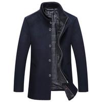 Wholesale mens wool jacket pea coat - Winter Wool Coat Men Slim Fit Jacket Mens Fashion Outerwear Warm Male Casual Jackets Overcoat Woolen Pea Coat Plus Size 3XL