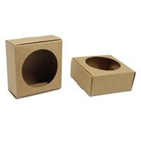 ingrosso involucro di carta marrone-30 pz / lotto scava fuori carta kraft pieghevole scatola di imballaggio per sapone fatto a mano cartone avvolgimento netural marrone regali di nozze scatole