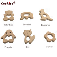18pcs DIY Baby Teether Toys Organic Natural Beech Wooden 6 Types Combination Animal Hand Cut Grasping Toys Baby Wooden Teether Shower Gift