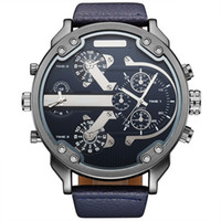 Wholesale big man japan - 2017 New Arrival Men Top Brand OULM 3548 Luxury Japan movt Quartz 2 Time Zone Casual Watches 5.5cm Big Face Watch Relojes Hombre