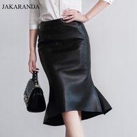 Wholesale Genuine Leather Skirts - JAS1710 Autumn Genuine Leather 60 CM Long Maxi Skirt For Woman OL Fish Tail Ruffles Slim Hip Bust Faldas Lady Sexy X shape Skirt