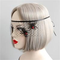 máscara de aranha venda por atacado-Máscara de Halloween Masquerade Partido Aranha Princesa Máscara Rosto A Metade do Rosto Máscaras de Olho Véu Acessórios Fácil de Usar 6 5 dd dd