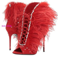 botines de plumas al por mayor-2018 venta caliente de las mujeres botas de tacón alto peep toe tacones delgados mujer botines zip up botines para mujer botas de plumas rhinestone stud botas
