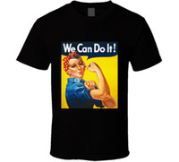Wholesale womens fitness clothing online - Rosie The Riveter Womens We Can Do It Fitness Men s Black T Shirt Tees Clothing New T Shirt Men Fashion T Shirts top tee