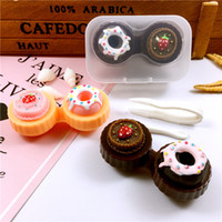 karikatür kontakt lensler toptan satış-1 ADET Karikatür Kontakt Lens çantası Dondurma Kek İletişim Lens Kutusu Hediyeler için Taşınabilir Seyahat Gözlük Durumda 6 Renkler