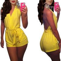 bodysuits feminino frete grátis venda por atacado-Mulheres Sexy Clube Macacão Sem Mangas Bandage Bodycon Clubwear Backless Halter Amarelo Mulheres Bodysuits Macacão Estoque Frete Grátis