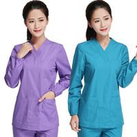 Wholesale Medical Scrubs Uniforms - Women's Scrubs TOP   Medical Nursing Uniform Classic V Neck Long Sleeve Top