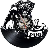 черные современные настенные часы оптовых-Black Puppy Favorite Pug Personalized Design  Record Wall Clock Dog Animal Modern Decorative  Record Wall Clock