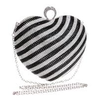 Wholesale Heart Shape Clutches - Fashion crystal women handbag diamonds pearl evening party purse bridal wedding party heart shape clutches Black Gold