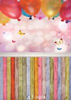 Wholesale balloon photography backdrops resale online - new born baby photography backdrops colored wooden floor balloons D backgrounds for photo studio baby shower backdrop vinyl