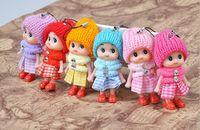 Wholesale toy clown dolls - Cute 8cm Doll Keychians Decoration Plaid Clown Mini Doll Key Chain keyring Fashion Women Bag Charm Phone Accessories