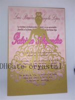 Wholesale wedding dress invitations - Shimmer Laser Cut Quinceanera Invitations. Gold Laser Cut Dress Quinceanera Invitation Elegant Quince Sweet Sixteen Shimmer gold