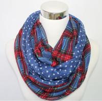 ingrosso sciarpa plaid arancione-Sciarpe Infinity Scialle Snood Loop Sciarpe intorno a sciarpe Navy / Rosso / Beige / Verde arancione blu Colore