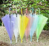 Wholesale see umbrella for sale - Group buy New Arrival Transparent Clear EVC Umbrella Long Handle Rain Sun Umbrella See Through Colorful Umbrella Rainproof Wedding Photo