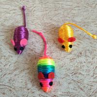 divertidos juguetes para jugar mouse al por mayor-Divertido falso ratón rata gato juguetes mini cuerda jugando ratón juguetes gato masticar juguetes regalo para gatos perros gatito línea